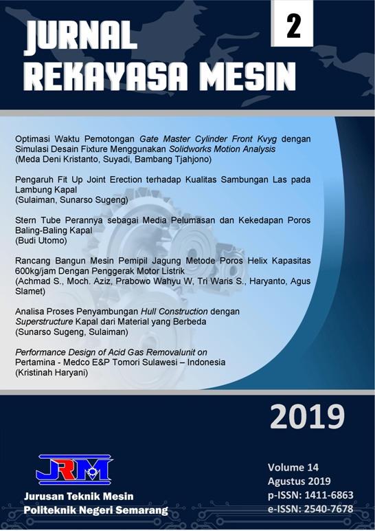 Jurnal Rekayasa Mesin (p-ISSN: 1411-6863, e-ISSN:2540-7678) Volume 14, Nomor 1, April 2019